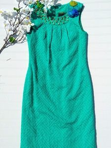 Taylor teal sheath dress with embroidered flowers